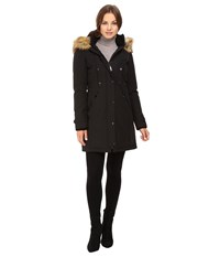 Vince Camuto Faux Fur Trim And Lined Hooded Down Removable Trim L1721 Black Women's Coat