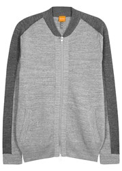 Boss Kabimer Panelled Stretch Knit Sweatshirt Grey