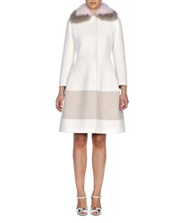 Fendi Fur Collar Cashmere A Line Coat White Sand