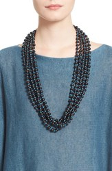 Women's Eskandar Acai Seed Bead Triple Strand Necklace
