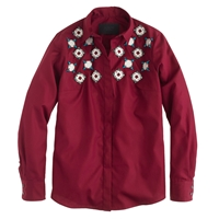 J.Crew Collection Jeweled Geo Shirt Deep Garnet