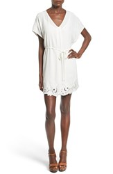 Women's Astr 'Heart Of Gold' Contrast Hem Tunic Dress Off White