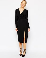C Meo Collective Bedroom Wall Longsleeve Dress In Black Black