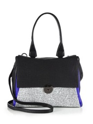 Milly Wythe Mixed Leather Satchel Bag Black Multi