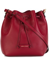 Emporio Armani Medium Crossbody Bucket Bag Red