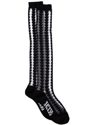 Ktz Leaf Intarsia Knee High Socks Black