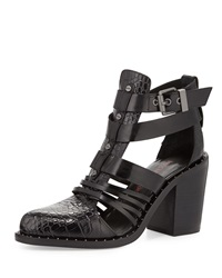 Luxury Rebel Mandy Croc Embossed Leather Bootie Black