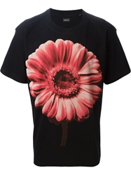 Diesel Flower Print T Shirt Black