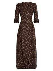 The Vampire's Wife Cate Cotton Midi Dress Black Print