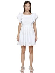 Philosophy Di Lorenzo Serafini Embroidered Cotton Poplin Eyelet Dress