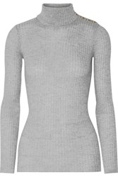 Balmain Ribbed Wool Turtleneck Sweater Light Gray