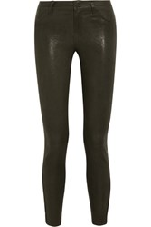 J Brand L8001 Stretch Leather Skinny Pants Army Green