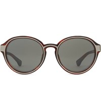 Dries Van Noten Dvn81 Round Sunglasses Bordeaux And Silver