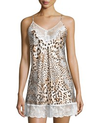 Oscar De La Renta Prism Pretty Nightie W Lace Animal Print Animl