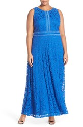Plus Size Women's London Times Swirl Lace A Line Gown