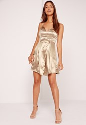Missguided Silky Wrap Shift Dress Gold Bronze