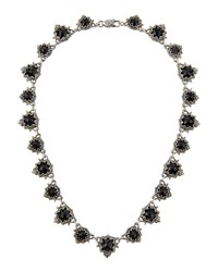 Konstantino Scalloped Silver And Onyx Station Necklace Black