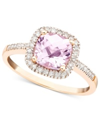 Macy's Pink Amethyst 1 1 3 Ct. T.W. And Diamond 1 5 Ct. T.W. Ring In 10K Rose Gold