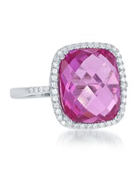 Diana M. Jewels 14K White Gold Cushion Cut Amethyst And Pave Diamond Ring Size 6.5