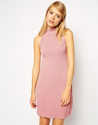 Asos Knitted Shift Dress With Embellished Turtle Neck Pink