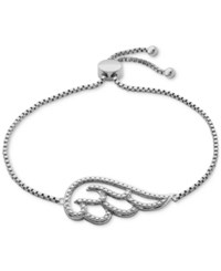 Macy's Diamond Accent Angel Wing Slider Bracelet In Silver Plated Bronze