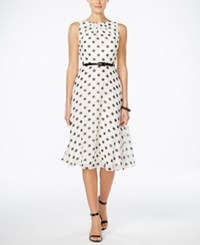 Jessica Howard Petite Belted Polka Dot Fit And Flare Dress Ivory Black