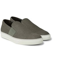 Lanvin Pebble Grain Leather Slip On Sneakers Mushroom