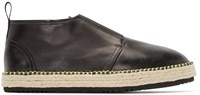 Msgm Black Leather Espadrille Boots