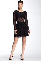 Madison Marcus Lace Silk Dress Black