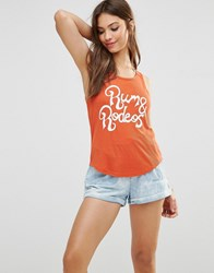 Minkpink Rum And Rodeo Ribbed Tank Top Rust Red