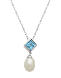 Lord And Taylor Sterling Silver Pearl And Swiss Blue Topaz Pendant Necklace