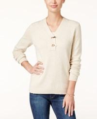 Charter Club Henley Sweater Only At Macy's Sweet Cream Combo