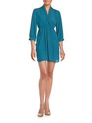 Collective Concepts Solid Three Quarter Sleeve Dress Teal