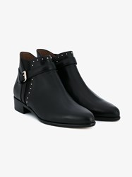 Tabitha Simmons Gigi Studded Leather Ankle Boots Black Almond Silver