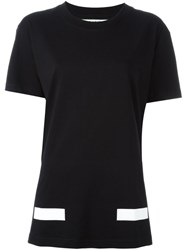 Off White Stripe Detail T Shirt Black