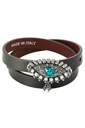 Alexander Mcqueen Leather Wrap Around Bracelet With Embellishment Black