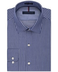 Tommy Hilfiger Men's Slim Fit Non Iron Color Ground Stripe Dress Shirt Navy