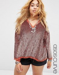 Asos Curve Sequin Sweat Top Nude Pink