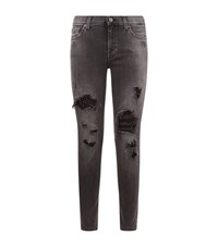 7 For All Mankind Distressed Sequin Jeans Female Black