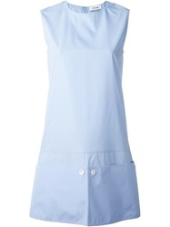 Courra Ges Button Panel Shift Dress Blue
