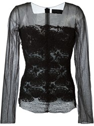 Marc Le Bihan Embroidered Sheer Blouse Black