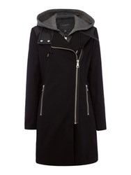 Andrew Marc New York Wool Coat With Faux Leather Trim Black