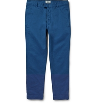 Officine Generale Slim Fit Cotton Twill Trousers Blue