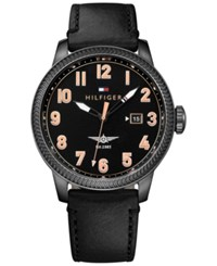 Tommy Hilfiger Men's Casual Sport Black Leather Strap Watch 42Mm 1791314