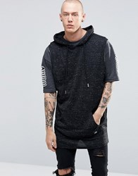 Sixth June Longline Sleeveless Hoodie Black