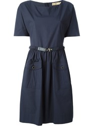 Fay Belted Dress Blue