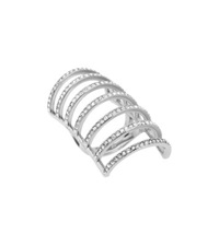 Michael Kors Pave Silver Tone Cage Ring