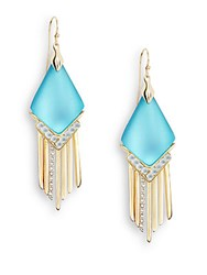 Alexis Bittar Lucite And Crystal Spear Fringe Drop Earrings Turquoise