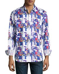Robert Graham Interstates Woven Button Front Shirt Multi
