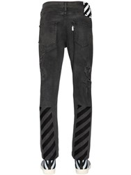 Off White Stripes Print Ripped Cotton Denim Jeans